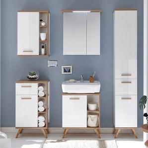 Badezimmer Möbel-Set MALANJE-66 Bad Komplett-Set in weiß glänzend & Riviera Eiche quer Nb. - B/H/T: 176,5x200x33cm