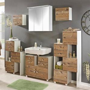 Badezimmer Möbel-Set mit 2 Schieberegalen, weiß/silberfichte, B x H x T ca. 178-208 x 195 x 34,5cm OTAVI-04