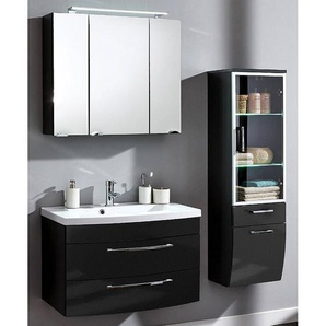 Badezimmer Möbel Set mit 80cm LED-Spiegelschrank RIMAO-02 Hochglanz anthrazit B x H x T: ca. 142 x 190 x 48,5 cm