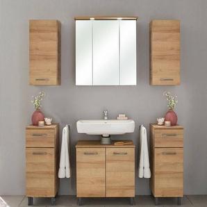 Badezimmer Möbelset 5-tlg. RECIFE-66 in Eiche Riviera, Spiegelschrank mit LED - B/H/T: 150/200/33cm