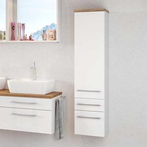 Badezimmer Seitenschrank in Weiß und Wildeiche Dekor hängend