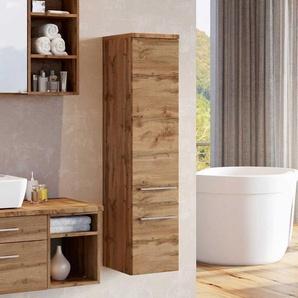 Badezimmer Seitenschrank in Wildeichefarben hängend