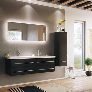 Badezimmer Set 3-teilig mit 1 Hochschrank MIRAMAR-02 schwarz Seidenglanz inkl. Waschbecken und LED Spiegel B/H/T: 190/200/50,5cm