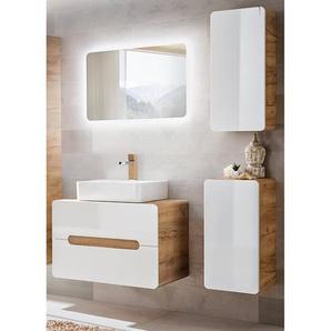 Badezimmer Set Hochglanz weiß mit Wotaneiche LUTON-56 mit Keramik-Aufsatzwaschbecken BxHxT ca. 130x200x46cm