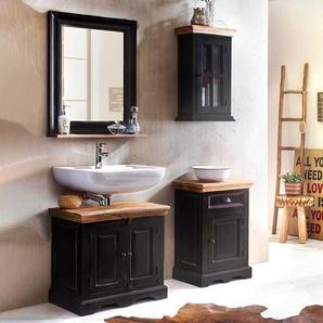 Badezimmer Set im Kolonial Design Schwarz und Honigfarben (4-teilig)