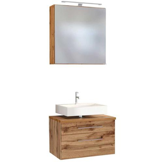 Badezimmer Set im Wildeiche Dekor LED Beleuchtung (2-teilig)