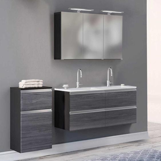 Badezimmer Set in Eiche Grau Optik Doppelwaschtisch (3-teilig)