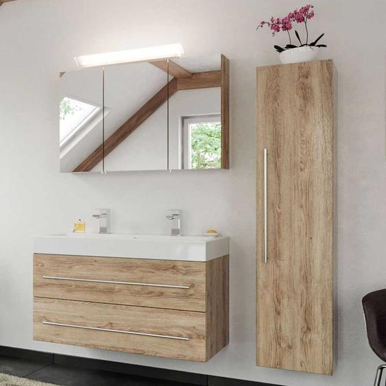 Badezimmer Set in Eiche hell LED Beleuchtung (3-teilig)
