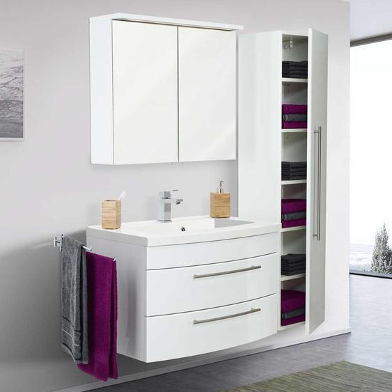 Badezimmer Set in Hochglanz Weiß LED Beleuchtung (3-teilig)