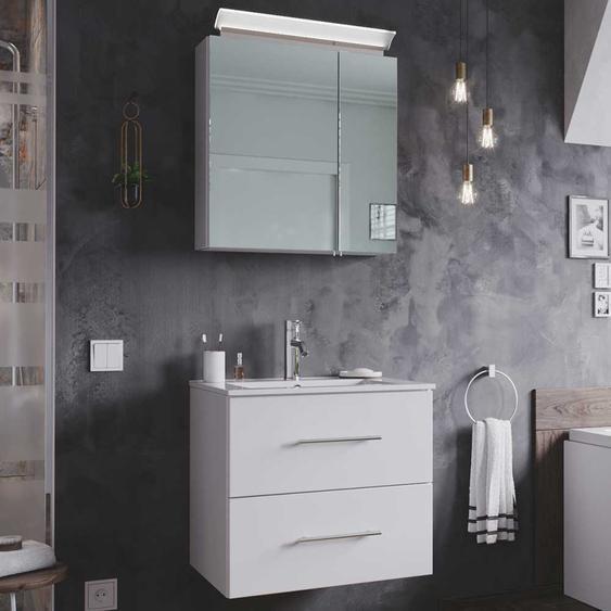 Badezimmer Set in Hochglanz Weiß Made in Germany (2-teilig)