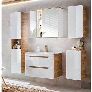 Badezimmer Set in Hochglanz weiß, Wotaneiche LUTON-56 mit 80cm Keramik-Waschtisch & LED-Spiegelschrank BxHxT ca. 180x195x46cm