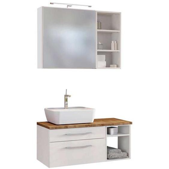 Badezimmer Set in Wei� und Wildeiche Dekor beleuchtetem Spiegel (3-teilig)