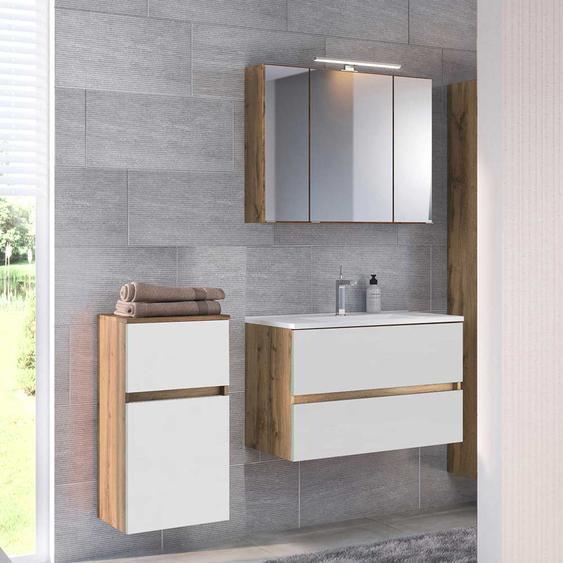Badezimmer Set in Weiß und Wildeiche Optik LED Beleuchtung (3-teilig)