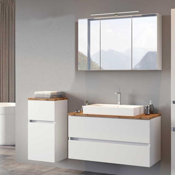 Badezimmer Set in Weiß und Wildeiche Optik Spiegelschrank (3-teilig)