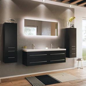 Badezimmer Set MIRAMAR-02 schwarz Seidenglanz inkl. Waschbecken und LED Spiegel mit Touchfunktion B/H/T: 240/200/50,5cm