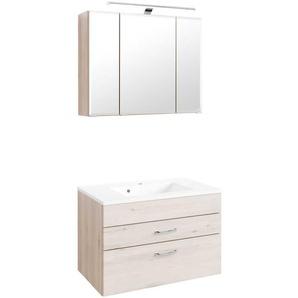 Badezimmer Set mit 3D Spiegelschrank Buche hell (2-teilig)
