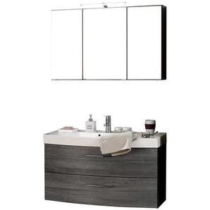Badezimmer Set mit 3D Spiegelschrank Eiche Grau (2-teilig)