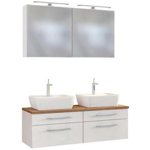 Badezimmer Set mit Doppelwaschtisch Wei� und Wildeiche Dekor (3-teilig)