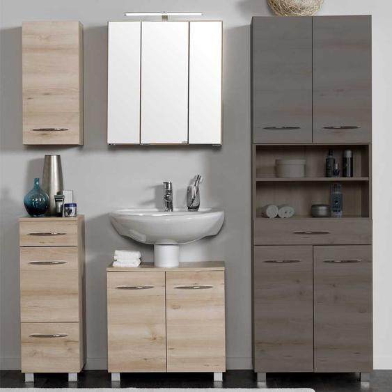 Badezimmer Set mit Spiegelschrank Buche (3-teilig)
