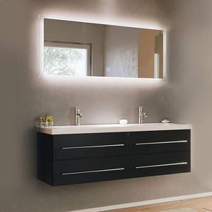 Badezimmer Set 2-teilig MIRAMAR-02 schwarz Seidenglanz inkl. Waschbecken und LED Spiegel mit Touchfunktion B/H/T: 143/200/50,5cm
