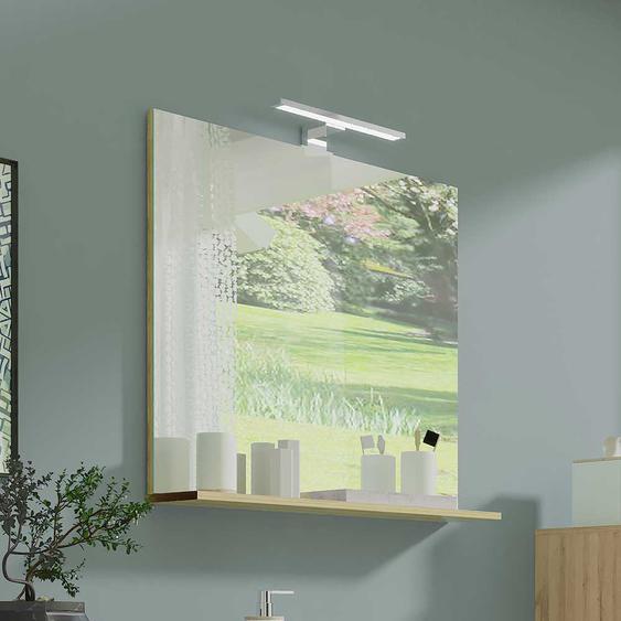 Badezimmer Spiegel in Eichefarben 75 cm hoch