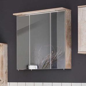Badezimmer Spiegelschrank im Dekor Eiche Grau LED Beleuchtung