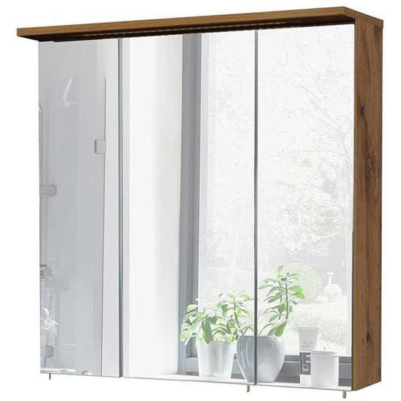 Badezimmer Spiegelschrank in Wildeichefarben 3 türig