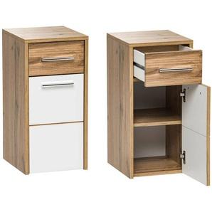 Badezimmer Unterschrank LUGO-56, Wotaneiche Nb, Hochglanz weiß, B x H x T ca. 30 x 63 x 33cm