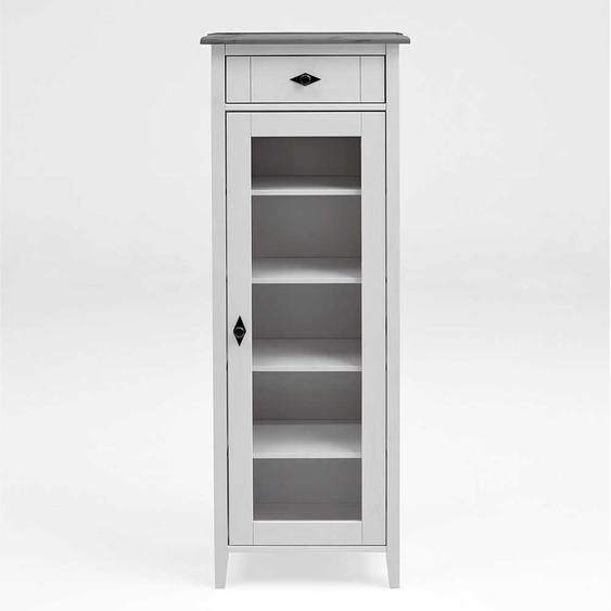 Badezimmer Vitrine in Weiß Grau Kiefer teilmassiv Landhaus Design