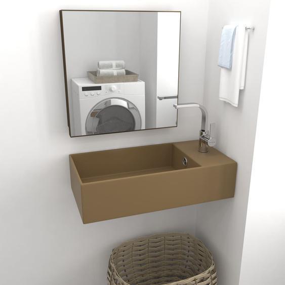 Badezimmer Wand-Waschbecken mit Überlauf Keramik Matt Creme