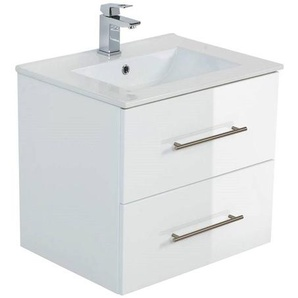 Badezimmer Waschplatz HELLA-02 in weiß Hochglanz mit Unterschrank und Keramik Waschbecken B/H/T ca. 60/54/46cm