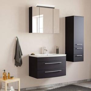 Badezimmer Waschplatz Set mit 80cm Waschtisch & LED-Spiegelschrank MAPUTO-02 in schwarz Seidenglanz BxHxT ca. 132x200x49cm