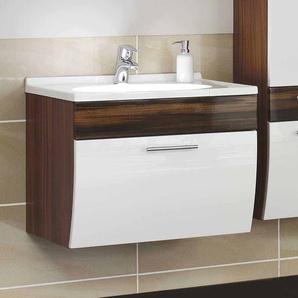 Badezimmer Waschtisch in Wei� Hochglanz Walnuss h�ngend