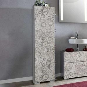 Badezimmerhochschrank mit Blumen Muster Grau und Wei�