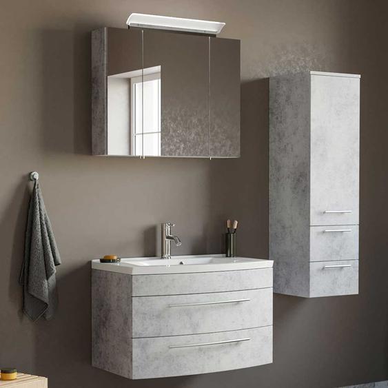 Badezimmerm�bel Set in Beton Grau h�ngend (3-teilig)