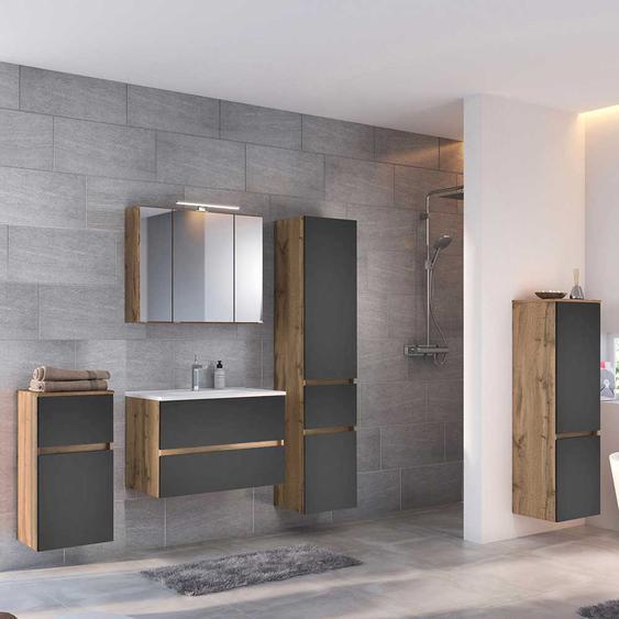 Badezimmermöbelset in Dunkelgrau und Wildeiche Optik LED Beleuchtung (5-teilig)