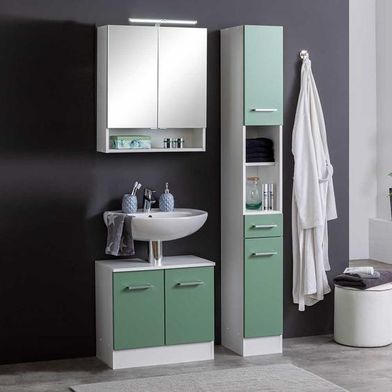Badezimmermöbelset in Grün und Weiß 85 cm breit (3-teilig)
