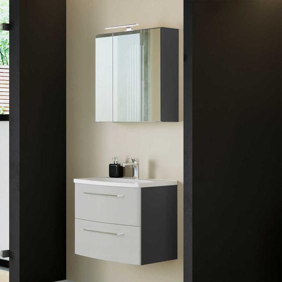 Badezimmerm�belset in Hellgrau LED Beleuchtung (2-teilig)
