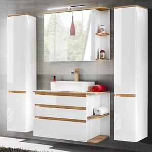 Badezimmermöbel Komplett Set mit Keramik-Waschtisch CAMPOS-56, Hochglanz weiß mit Wotaneiche, 2 Hochschränke B x H x T ca. 194 x 200 x 50 cm