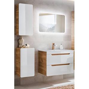 Badezimmer Möbel Set 4-teilig Hochglanz weiß inkl. 60 cm Keramikwaschtisch LUTON-56, B x H x T ca.: 110 x 200 x 46 cm