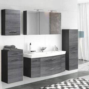 Badezimmermöbel Set mit 120cm Waschtisch & Spiegelschrank FLORIDO-03 Eiche Rauchsilber, graphitgrau B x H x T: ca. 230 x 200 x 47 cm