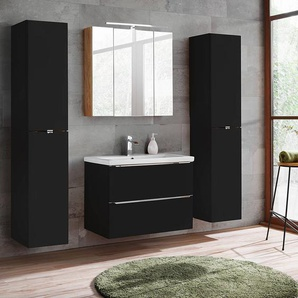 Badezimmermöbel Set mit 2x Hochschrank, 80cm Waschtisch TOSKANA-BLACK-56 seidenmatt anthrazit, Wotaneiche BxHxT ca. 190/190/46cm