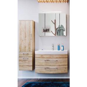 Badezimmermöbel Set RIMAO-02 Eiche Sonoma, 80cm Waschtisch & LED Spiegelschrank, B x H x T: ca. 142 x 190 x 48,5 cm