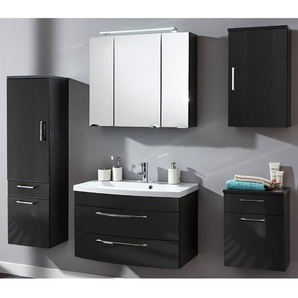 Badezimmermöbel Set mit 80cm Waschtisch RIMAO-02 Hochglanz anthrazit, B x H x T: ca. 202 x 190 x 48,5 cm