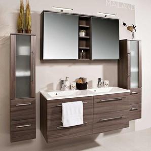 Badezimmermöbel Set mit Doppelwaschtisch Eiche dunkel (4-teilig)