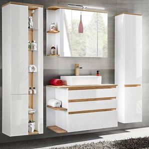 Badezimmermöbel Set mit Keramik-Waschtisch CAMPOS-56, Hochglanz weiß mit Wotaneiche, 2 Hochschränke B x H x T ca. 204 x 200 x 50 cm