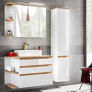 Badezimmermöbel Set mit Keramik-Waschtisch CAMPOS-56, Hochglanz weiß mit Wotaneiche, Hochschrank B x H x T ca. 144 x 200 x 50 cm