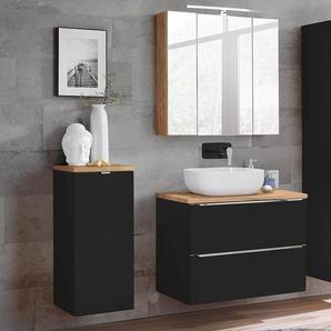Badezimmermöbel Set mit LED-Spiegelschrank TOSKANA-BLACK-56 seidenmatt anthrazit & Wotaneiche BxHxT ca. B/H/T: 135/190/46cm