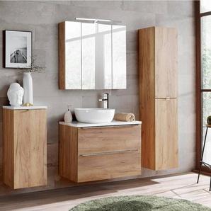 Badezimmermöbel Set mit Wäscheschrank TOSKANA-56 Wotaneiche & weiß Hochglanz, BxHxT ca. 190/190/46cm