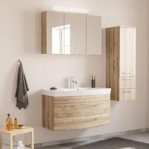 Badezimmermöbel Set mit Waschtisch & LED-Spiegelschrank MAPUTO-02 in Eiche hell BxHxT ca. 151x200x50,2cm